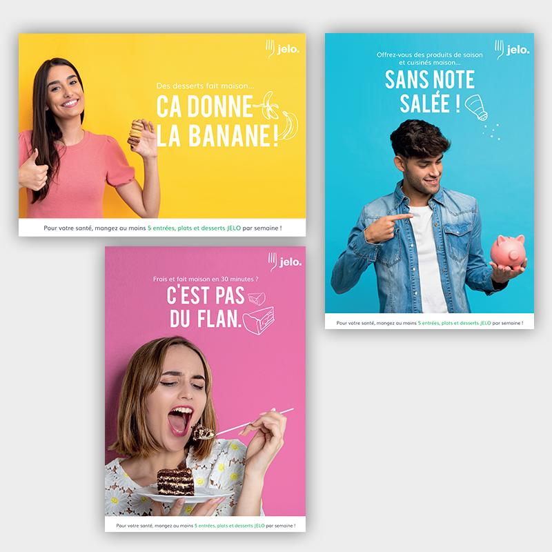 Affiches publicitaires pour JELO